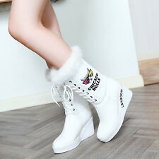 womens fleece lined cute warm fur lace up wedge heel mid calf boots casual shoes