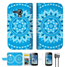 Blue AZTEC TRIBAL Wallet Phone Case Cover For Samsung Galaxy Trend Plus-- A001