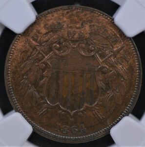 1864 LARGE MOTTO TWO CENTS NGC MS 62 BN  GLOSSY MILK CHOCOLATE CRESCENT OF GOLD