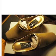 NEW WOMENS,AJ VALENCI GOLD MULES LEATHER SHOES with RHINESTONE CIRCLE Size 11w