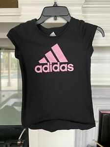 Adidas T Shirt Black Girls Size Small 7-8 Years Old EUC Cute