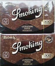 2 X Smoking Brown 300  Smoking paper   / Papel de liar -  Total 600 Hojitas