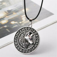 Vintage Men Norse Animal Viking Runes Wolf Head Pendant Necklace Amulet Jewelry