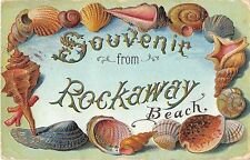 CPA ETATS UNIS D'AMERIQUE SOUVENIR FROM ROCKAWAY BEACH (cpa gaufrée
