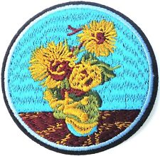 Van Gogh Sunflowers Embroidered Patch Iron On Quality Crafts Applique Art Flower