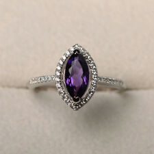 Marquise Amethyst 1.45CT Gemstone Rings Solid 14kt White Gold Ring Size N M O