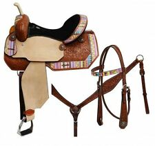 """16"""" CIRCLE S 5PC PACKAGE Barrel Saddle Set W/ Multi Colored Aztec Print Overlay!"""