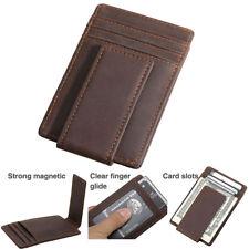 Vintage Men Real Leather RFID Slim Money Clip Card ID Holder Front Pocket Wallet