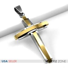 HOT Unisex Women Men Stainless Steel Curve Line Cross Pendant Cool Gold Tone 27S