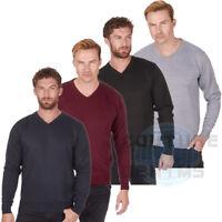 Mens Plain V Neck Jumper Pullover Long Sleeve Sweater Pull Over Smart Casual