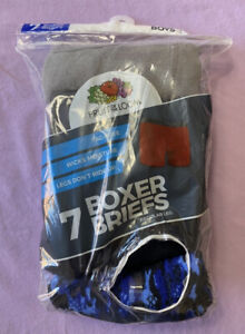 Fruit Of The Loom Boys' 7pk Tagless Boxer Briefs Blue Size M