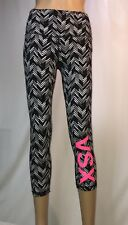 Victoria's Secret VSX Knockout Legging Small Black White Chevron Pant Crop Capri