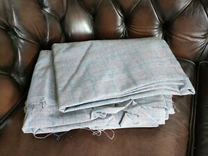 """Genuine Vintage Grey Blue Check Wool Suit Material, Very Large Size, 61"""" x 340"""""""