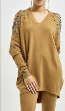 Voyelles Camel & Silver Studded Cold Shoulder Co-Ord Set