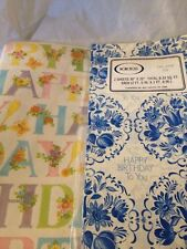 Vintage Lot Of 2 Packs Happy Birthday To You Folded Gift Wrap Wrapping Paper