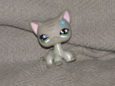 2006 Littlest Pet Shop Gray Short Hair Cat Green Star Eyes Blue Flower #483 LPS