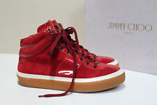 New sz 8 US / 41 Jimmy Choo Red Suede Patent Leather High Top Sneaker MEN Shoes