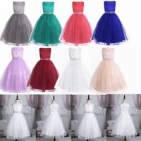 Flower Girl Dress Long Maxi Communion Lace Gown for Kid Party Wedding Bridesmaid