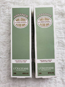 L'Occitane En Provence AMANDE Hand Nail Care Cream x2 LOT JUMBO sized 5.2 oz