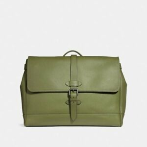 NWT 100% Coach Men Hudson Pebble Leather Messenger Bag Seaweed Green - F36810