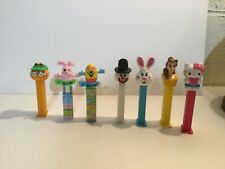 PEZ Dispenser Lot of 7 Snowman,Rabbit,garfield,egg,Belle,Hello Kitty