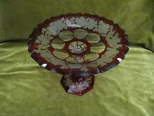 Coupe à fruit cristal rubis bohème grappes de raisin (bohemian ruby crystal bowl
