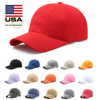 US Polo Style Baseball Cap Adjustable Plain Solid Washed Cotton Baseball Hat