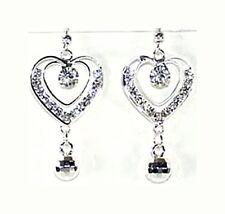 Boucles d'oreilles argenté, strass transparent, boule à facette bijoux fantaisie