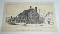 small 1884 magazine engraving ~ JAMES G. BLAINE NEWSPAPER OFFICE, Maine
