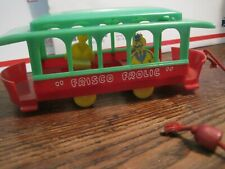 """VTG 1950s PLASTIC FRISCO FROLIC 7.25"""" MOVEABLE TROLLEY CAR Pull Toy"""