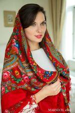 "Luxury Russian Pavlovo Posad Shawl 146cm/57"",Pure Natural Wool Merino scarf wrap"
