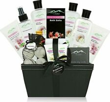Premium Deluxe Bath & Body Large Spa Basket Floral Caress with Back Scrubber