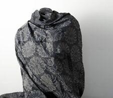 Jaquard Stoff leicht glänzend Blumen Muster schwarz grau Gardinen Deko Kleidung