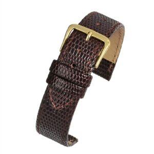Mens 22mm genuine real leather brown lizard grain watch strap watchband