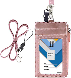 Badge Holder With Zip, Wisdompro Double Sided Pu Leather Id Badge Card Holder Wa