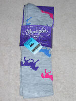 Wrangler Socks - Horses Crew - #9406 - Gray - Medium - Fits 9-11