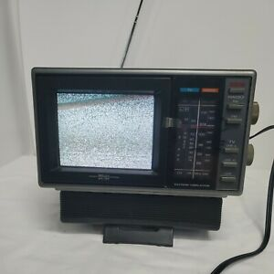 Sears sr3000 Model 580 Portable 5in TV with AM/FM radio 1987 TESTED WORKS