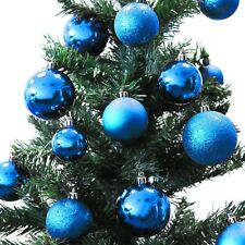 70ER Weihnachtsbaumkugeln-Set + Box Christbaumkugeln Baumschmuck Blau Ø4/5/6cm