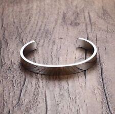 Minimalist Stainless Steel Cuff Bangle Bracelet for Men Silver Satin Finish Uk