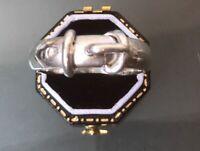 Vintage Solid Silver Men's/Women's Buckle Ring Size Z4 Weight 10.8g HALLMARKED