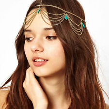 and faux turquoise - Very Elegant Medieval Headdress - Lovely Gold Tone Chain