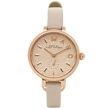 NEW MARC JACOBS MJ1421 SALLY ROSE GOLD FLOWER DIAL GREY LEATHER WOMEN'S WATCH