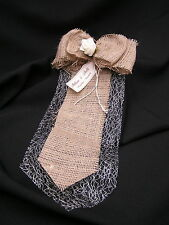 Pew Bows Shabby Chic Rustic Hessian Vintage Personalised Burlap Lace