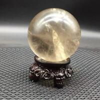 Natural Rainbow Smoky Quartz Crystal Sphere Ball Stand Healing  Reiki 68-70mm