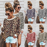 Women's Leopard Print Sweatshirts Casual Jumper Long Sleeve Tops Crew Neck New