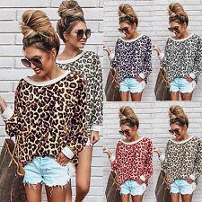 Women's Leopard Print Sweatshirts Casual Jumper Long Sleeve Tops Crew Neck New