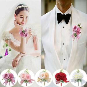 Wedding Wrist Flower Groom Bridesmaid Corsage Boutonniere Party Suit Decor