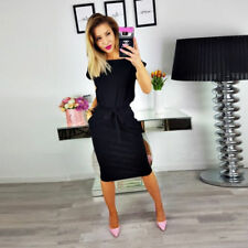 UK Womens Holiday Short Sleeve Pocket Casual Shirt Dress Tops Summer Size 12-18
