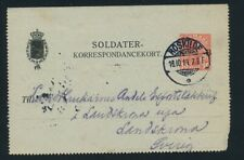Denmark/Sweden. 1914. WWI. Soldier/army/Field postcard/stationery overprinted SB