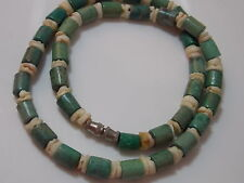 """Blue Turquoise Spool Shell Heshi Bead strand 16"""" Necklace Silver tone 7d 45"""
